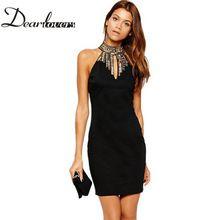 Sıcak satış 2016 Siyah Gurur Yüksek boncuklu Boyun kadın parti elbiseler Lüks Teklif Omuz yaz Mini Elbise robe femme LC21884(China (Mainland))