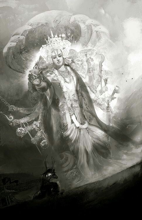 Lord Vishnu before Arjuna