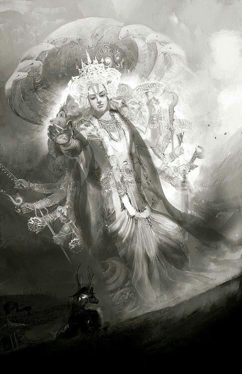 Lord Vishnu before Arjuna