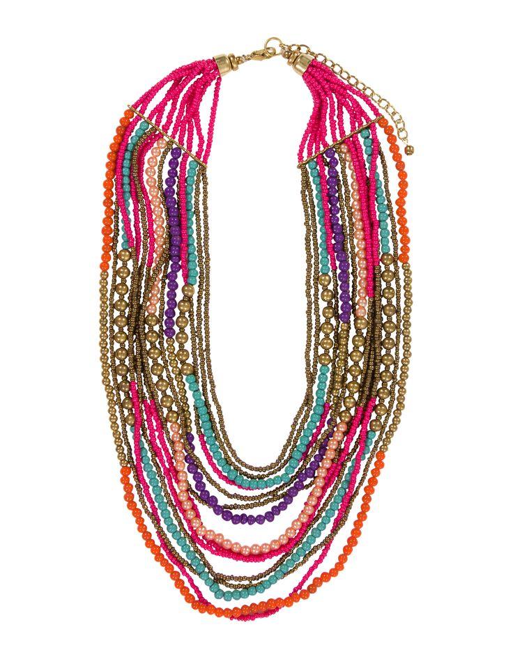 Meerkleurige turquoise ketting met kraaltjes. Het is een speelse ketting in etnische stijl, die je goed kunt combineren met diverse outfits.