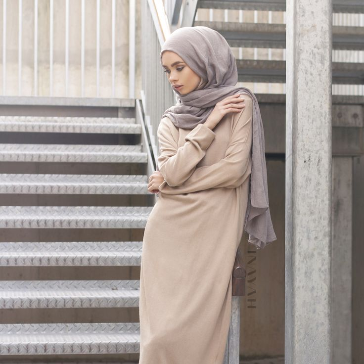 INAYAH | Camel High Neck #Jumper + Mid Grey Modal #Hijab - www.inayah.co