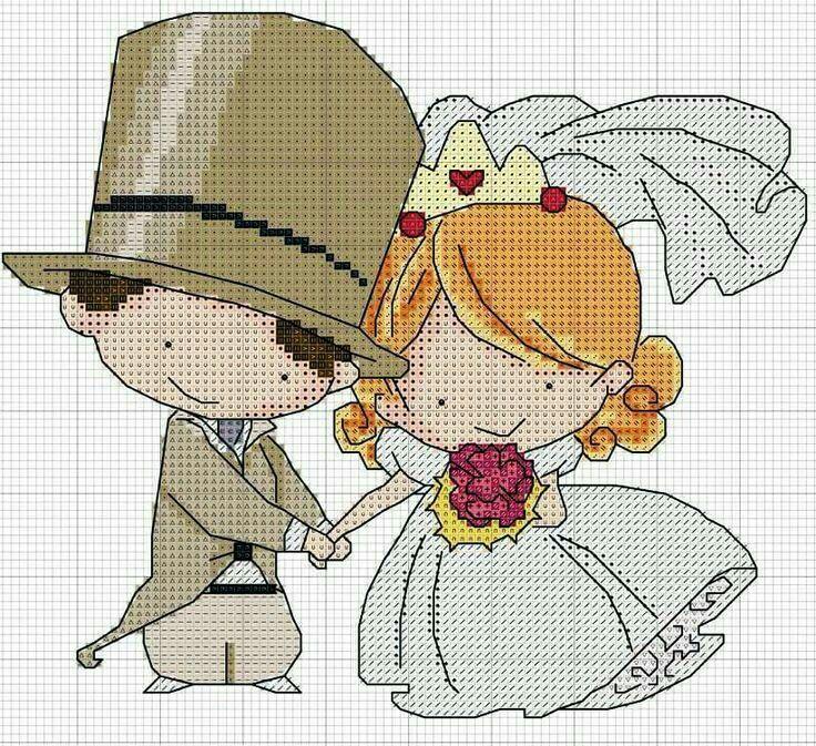 Вышитая открытка на свадьбу схема