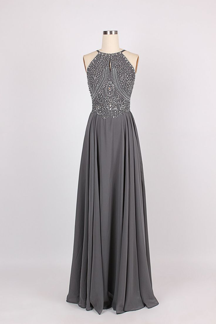 Simple Dress Handmade Scoop Beading Key-hole Long Chiffon Prom Dresses/Evening Dresses CHPD-7039