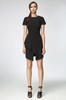 MISEBLA czarna sukienka z zakładaną falbaną