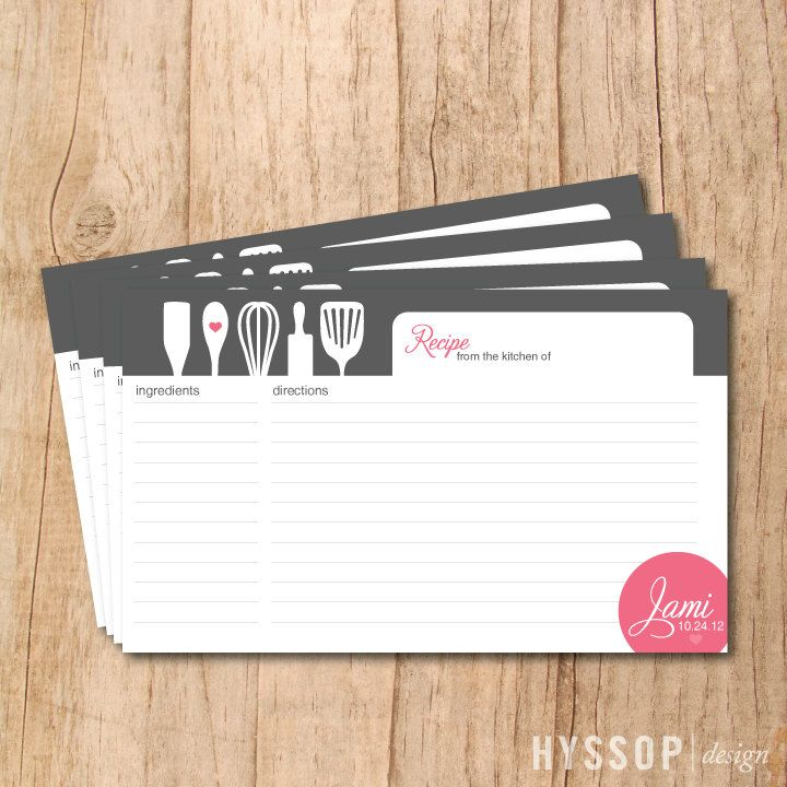 Printable/DIY - Modern Cooking Utensils Bridal Shower Recipe Cards (Charcoal and Pink). $15.00, via Etsy.