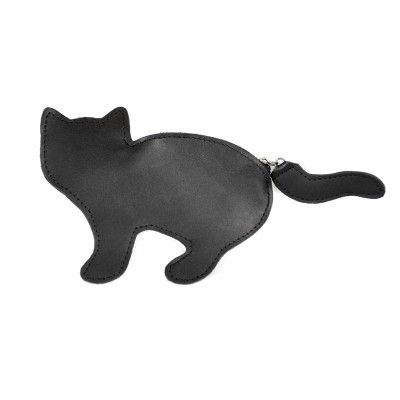 Black Leather Cat Coins Wallet