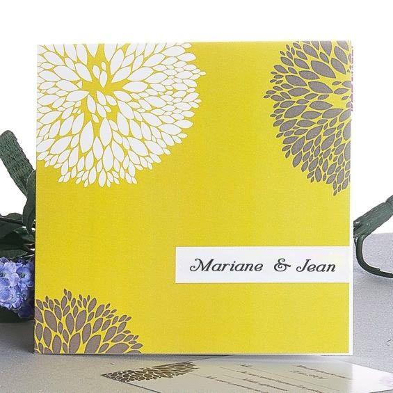 couleurs mixtes faire part mariage jaune gris violet JM469