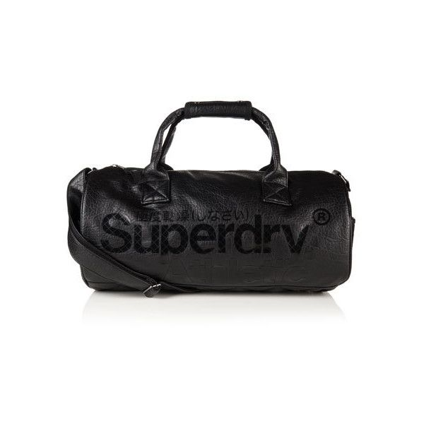Superdry Athletic Barrel Bag (100 AUD) ❤ liked on Polyvore featuring bags, handbags, shoulder bags, black, print purse, pocket purse, print handbags, quilted handbags and quilted shoulder bag