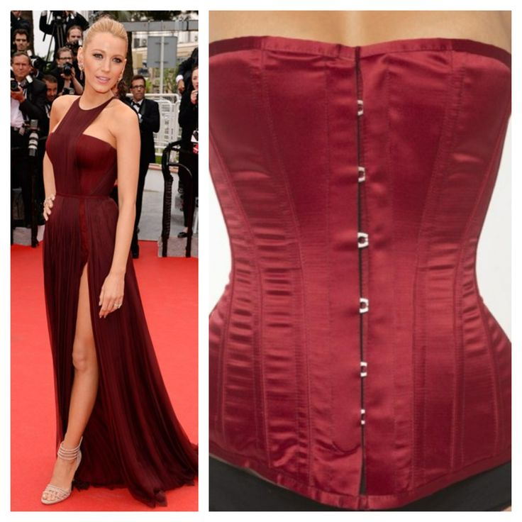 Achieve Blake Lively's Cannes Film Festival burgundy look with Vollers Harmony corset in burgundy satin. Available to purchase at:http://www.vollers-corsets.com/harmony.html