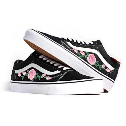 3b72292edd6 Amazon.com  Vans Red Old Skool Embroidered Pink Rose Custom Handmade Shoes  By Patch