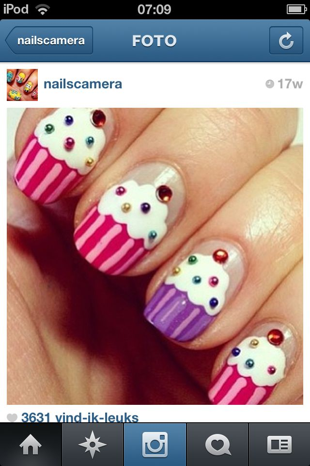 cupcake nagels schattig hè Wel moeilijk denk ik maar ik ga het proberen Het wordt vast mooi
