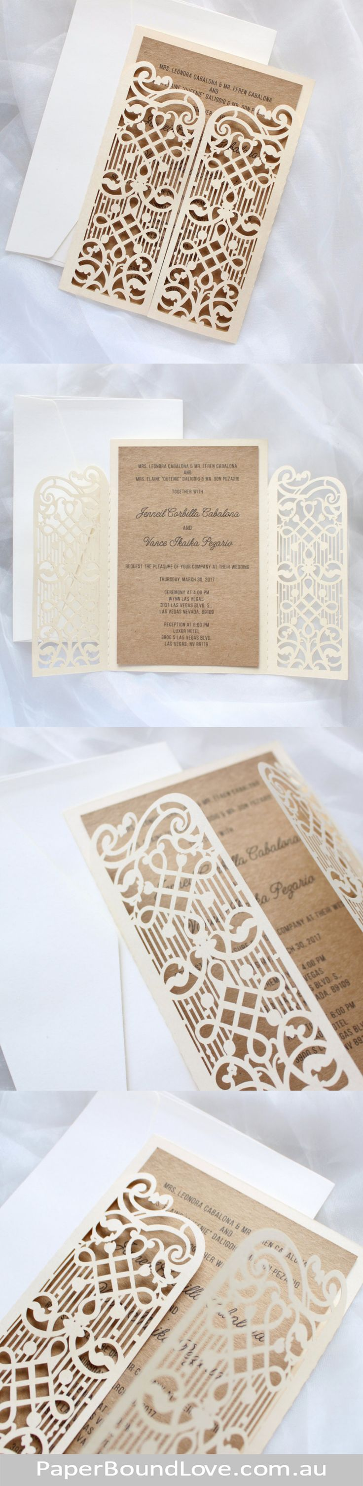 Gate Fold | Ivory wedding invitations by Paper Bound Love