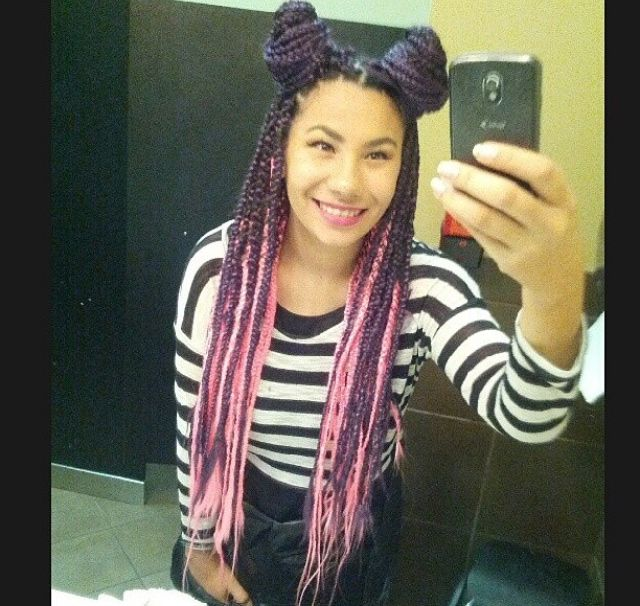 pink box braids with weave