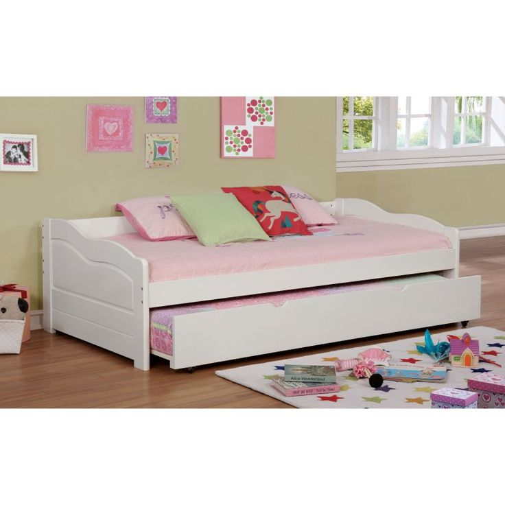 Furniture of America Tedel Transitional Curvy Wooden Daybed with Trundle - IDF-1737BK