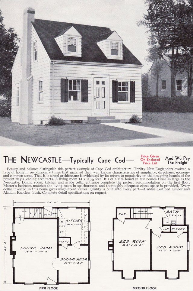 1940 aladdin kit homes the newcastle small house plans for Cape cod floor plans