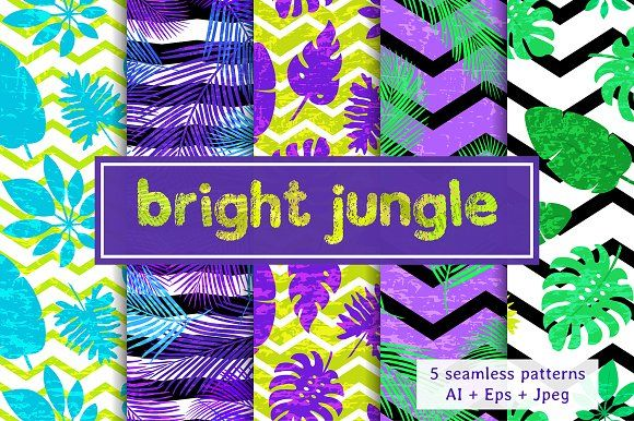 'Bright jungle' set by Alla_Ri_Shop on @creativemarket includes 5 bright seamless patterns with tropical leaf. Zip file contains: 5 EPS10 files 1 AI files 5 JPEG files in hi-res Add bright colors in your design: backgrounds, wallpapers, cards, posters, invitations, party decorations, packaging paper, scrapbooking, textile, shower curtains, duvet covers, pillows, web pages and more! Thanks for visiting my shop. ❤ Wish you inpiration!