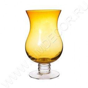Желтая стеклянная ваза Solar