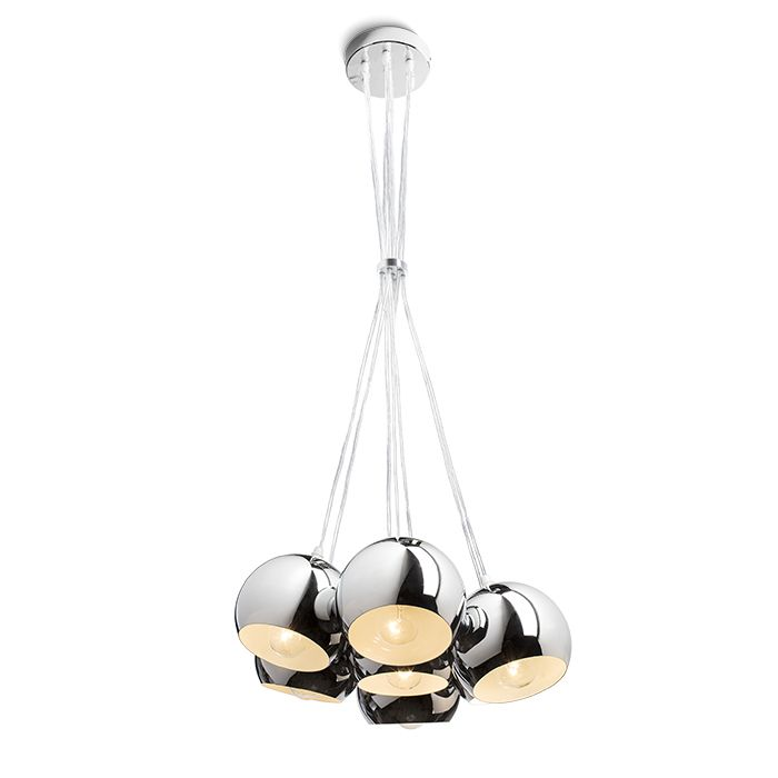 ASTROMET | rendl light studio | Pendant made out of 7 chrome spheres attached to one ceiling base and classic E27 sockets. #lights #pendant #chrome