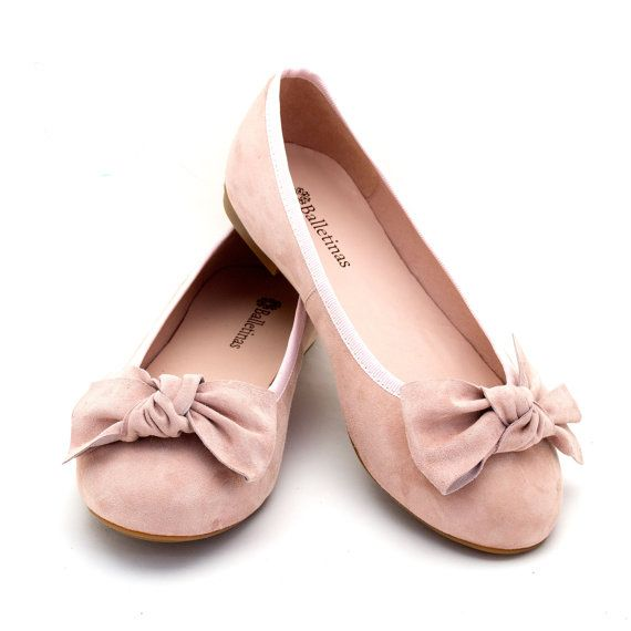 Ballet Flats Thyra Ballerina Pumps Leather Ballet Shoes in Coral, Rose, Navy blue, Sand and Silver leather color