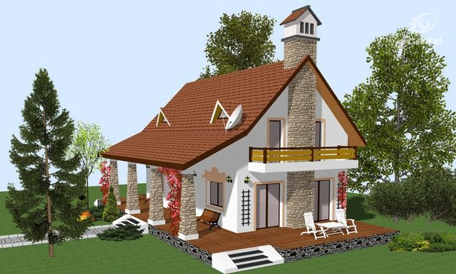 proiecte de case cu mansarda cu patru camere Four room attic house plans 10
