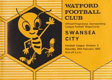 Watford 0 Swansea City 1 in Feb 1973 at Vicarage Road. The programme cover #Div3