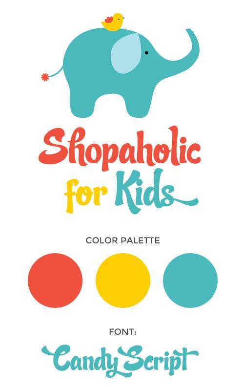 Shopaholickids brand design board by Fancy Girl Design Studio