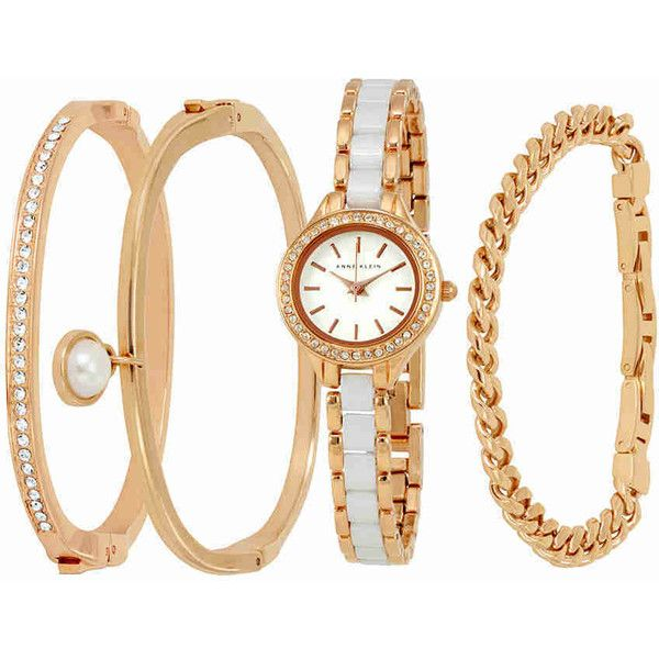 Anne Klein Rose Gold White Dial Ladies Watch and Bracelet Set ($140) ❤ liked on Polyvore featuring jewelry, watches, analog watches, red gold jewelry, crown jewelry, pink gold watches and quartz movement watches