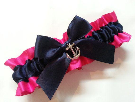Wedding Garter SINGLE or SET , beautiful  Pink and Navy Nautical themed garter on Etsy, $16.49
