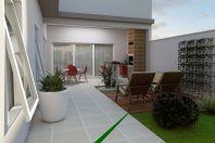 projeto 140m2 casa térrea fachada moderna linhas retas pedireito alto terreno 10×25 condominio vila daquila frente quadrada
