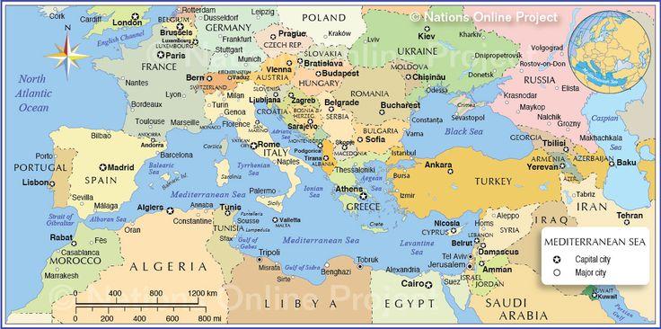 Map of the Mediterranean Region Map