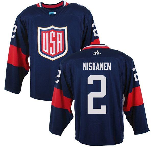 Mens Team USA #2 Matt Niskanen 2016 World Cup of Hockey Olympics Game Navy Blue Jerseys