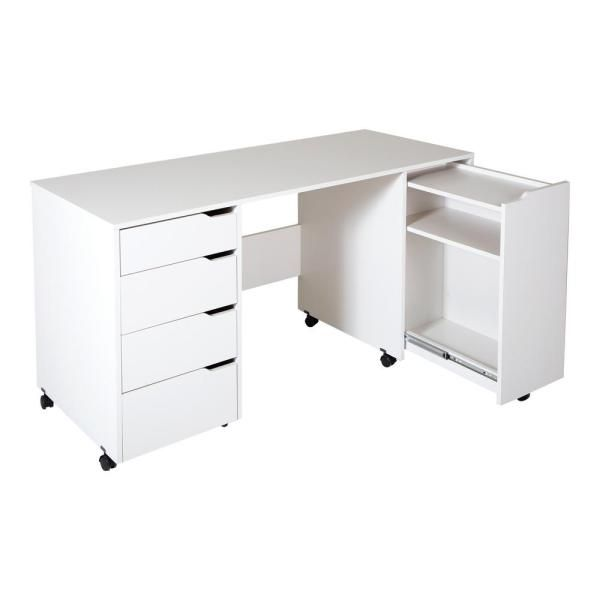South Shore 58 12 In Pure White Rectangular 4 Drawer Writing Desk With Casters 7550728 The Home Depot Craft Tables With Storage Sewing Craft Table Sewing Desk
