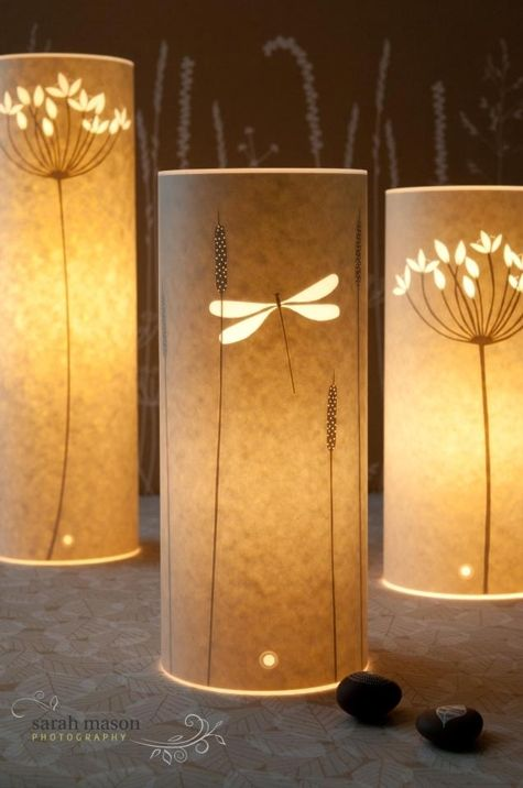 Dragonfly paper cut lamp by Hannah Nunn http://www.hannahnunn.co.uk/products/table-lamps/dragonfly/small-dragonfly-table-lamp.html