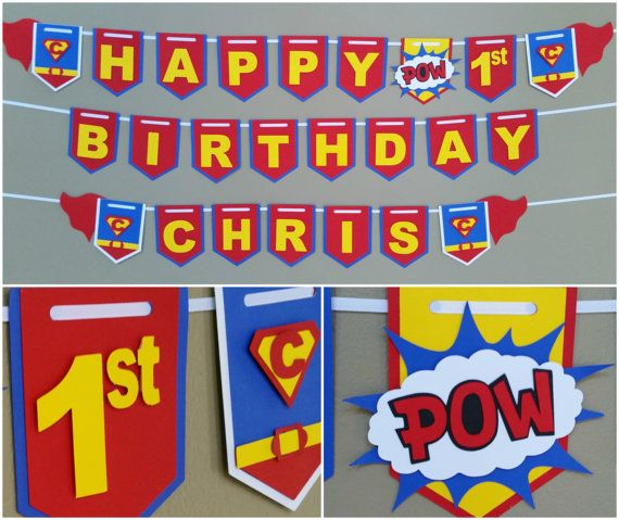 Superman Birthday Banner, Superman Name Banner, Superman Banners  Check out this item in my Etsy shop https://www.etsy.com/listing/248115040/superman-happy-birthday-banner-superman