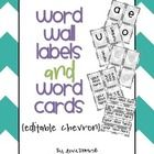 Word Wall Labels and Word Cards {editable chevron}  This packet includes 16 pages:  -Title Page -Teacher Tips -Editing instructions -2 sets vowel s...