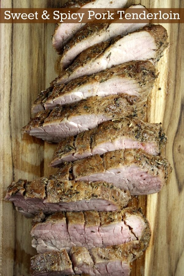 Fabulous Sweet and Spicy Pork Tenderloin Recipe from RecipeGirl.com. Easy marinade, and a quick bake in the oven for a family-friendly weeknight dinner.  Super tender and perfect.