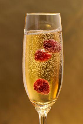 Fresh raspberries in Champagne