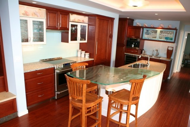 Cherry cabinetry and recycled glass countertops gt gt gt cherry cabinets