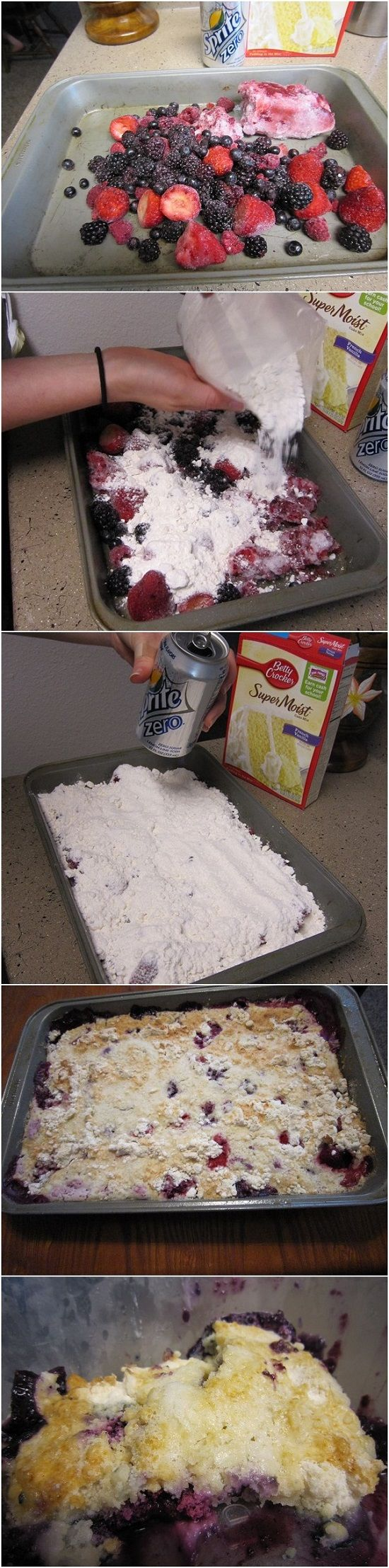 Very Easy Berry Cobbler - Just 3 ingredients...frozen berries, box cake mix, any clear colored soda