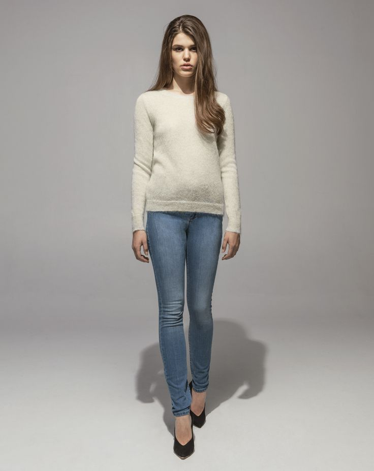 Metallic Mohair Sweater (Pearl) 5 Pocket Skinny (Light Vintage)