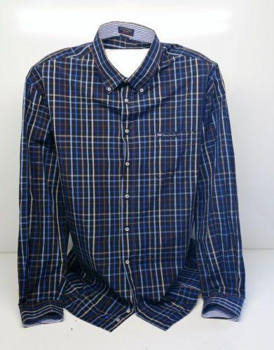 Paul and Shark Mens Shirt Long Sleeve Formal Blue / Black Check Size 48 (3XL)