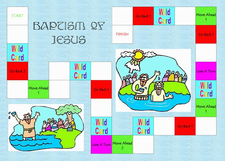 jesus being baptized craft for preschoolers | Baptism of Jesus File Folder Game- The object of the game is to get to ...