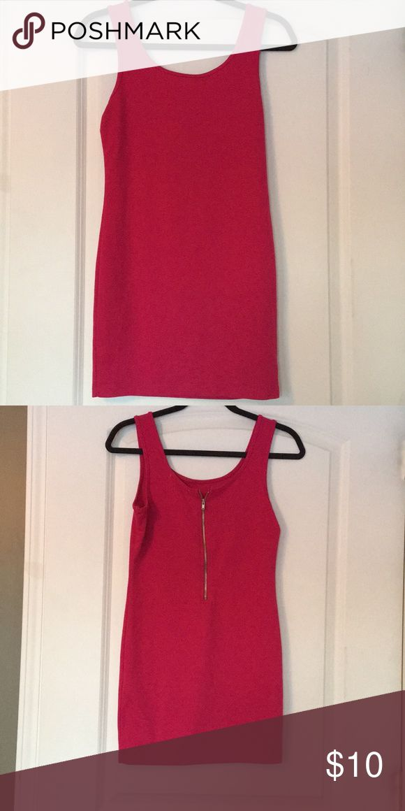 Girls Night Out Dress! Never worn - Forever 21 mini dress. Zipper detail on the back. Great for a GNO or date night. Color is a slightly deeper pink. Forever 21 Dresses Mini