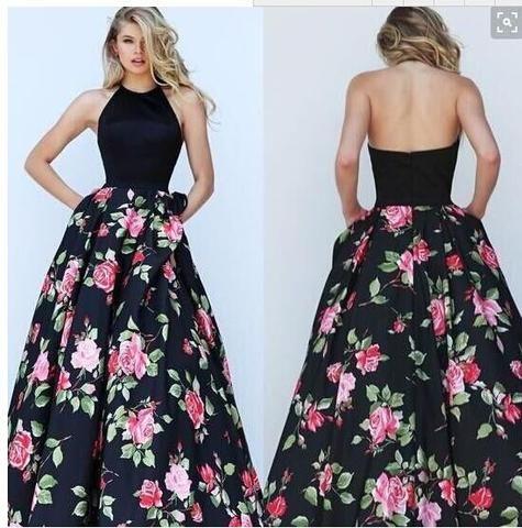 Women's New Spring Halterneck Floral Printed Long Dress