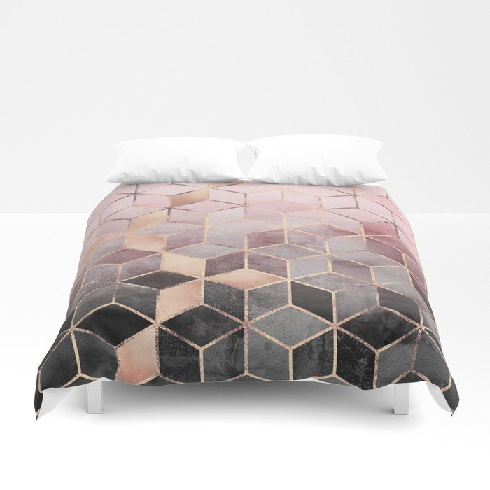 Buy Pink And Grey Gradient Cubes Duvet Cover By