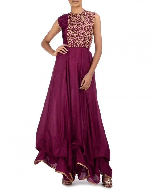 Burgundy Dress with Zari Embroidered Yoke by Shruti Sancheti Shop Now: http://bit.ly/shrutisanchetilfw2014 #Sari #Lehenga #Anarkali #Banarasi #Gold #Indian #India #Desi #Designer #Textile #Weave #Pochampali #LFW #Zari #Luxury #Celebrity #Bollywood #Brocade #RedCarpet #Beautiful #Stunning #Benarasi #FashionWeek #Golden #Fashion #Style #Trend #Runway #Gorgeous #Embroidery #ShrutiSancheti #Saree #Dress #Tunic #Lengha #IndiaTextileDay #Red #Aubergine #Fuchsia #Tangerine