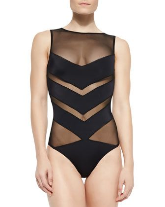 Shaw Solid/Mesh Striped One-Piece by OYE Swimwear at Neiman Marcus.