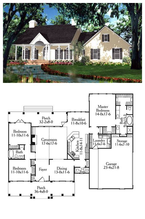 House Plan 40013   Total living area: 2046 sq ft, 3 bedrooms & 2.5 bathrooms. #capecod #houseplan