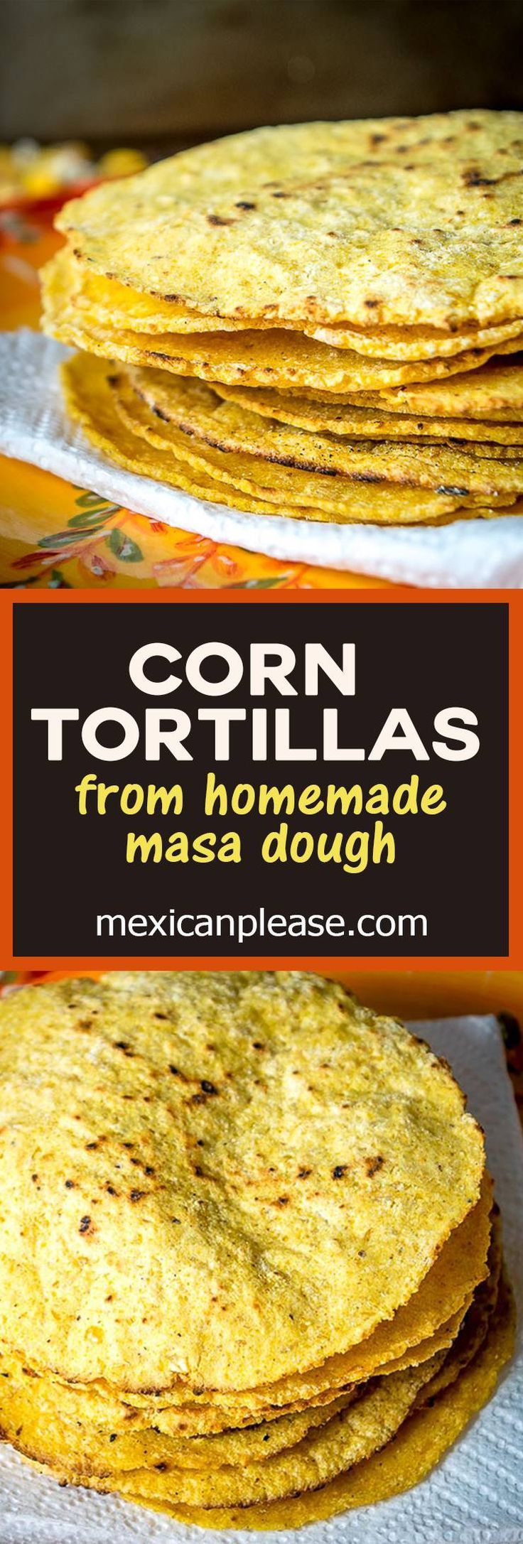 We're using fresh masa dough to make a delicious batch of homemade corn tortillas!  We also added some masa harina to the dough to make it easier to work with.  mexicanplease.com