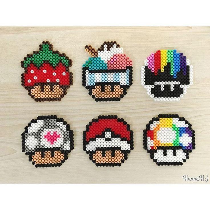 Mario mushrooms perler beads by hannah